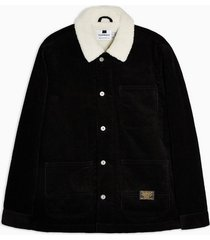 mens black corduroy borg chore coach jacket