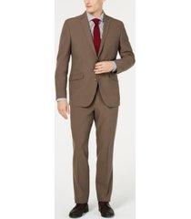 kenneth cole reaction men's ready flex slim-fit stretch brown suit