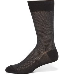 saks fifth avenue made in italy men's birdseye cotton dress socks - charcoal