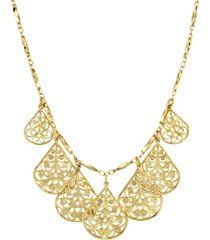"2028 gold-tone filigree teardrop collar necklace 16"" adjustable"