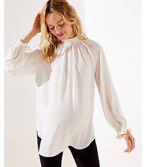 loft maternity embroidered smock mock neck blouse