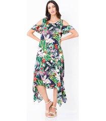vestido largo estampado tropical asimétrico detalle mangas
