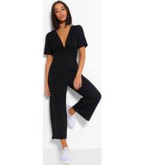geribbelde gedraaide culotte jumpsuit, zwart