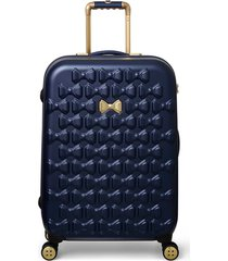 ted baker london medium beau bow embossed four-wheel 27-inch trolley suitcase - blue