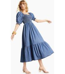 inc international concepts puff-sleeve denim maxi dress, created for macy's
