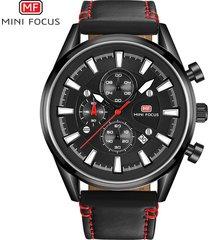reloj para hombre/correa de piel/ mini focus / 0083g / reloj-negro