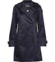 coats woven trenchcoat lange jas blauw esprit collection