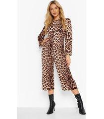 luipaardprint wide leg jumpsuit, brown