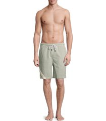 solid and striped men's the california seersucker striped swim shorts - green seer - size xl