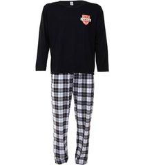 pijama masculino plus size longo família time xadrez luna cuore