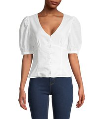 lucca women's pinstripe puff-sleeve top - white - size m