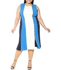 alexia admor women's plus anna colorblock midi dress - azure multi - size 2x (18-20)