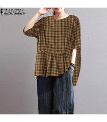 zanzea mujeres más el tamaño de la llamarada peplum suelta a cuadros camiseta superior túnica de la blusa -amarillo