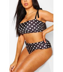 plus polka dot bow high waist bikini, black