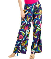inc petite high-rise printed wide-leg pants, created for macy's