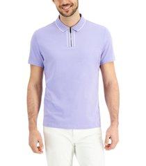 alfani men's tipped zip polo shirt, created for macy's