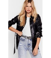 womens faux leather belted utility biker jacket - black