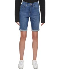 calvin klein jeans roll-cuff high-rise denim bermuda shorts