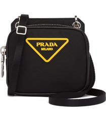 prada nylon and saffiano leather pouch - black