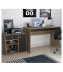 conjunto escrivaninha com armário para escritorio b32 mel preto nova mobile