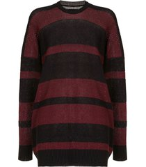 julius striped slouchy sweater - black