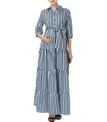 women's kimi and kai ruby stripe belted maternity/nursing maxi dress, size large - blue