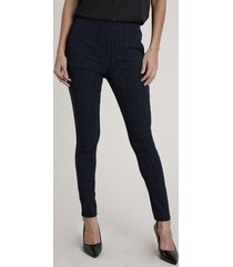 calça legging feminina estampada risca de giz com bolsos azul marinho