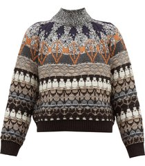fair isle knit wool blend sweater