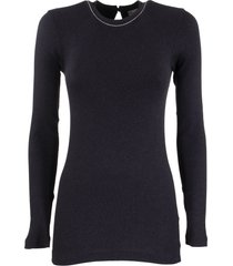 brunello cucinelli ribbed stretch cotton jersey t-shirt with monili