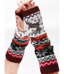 navidad de punto medio dedo largo guantes
