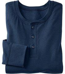 shirt met knoopsluiting en lange mouw, marineblauw s