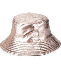 marcus adler women's reversible metallic bucket hat - rose gold