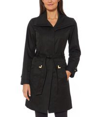 jones new york belted wing-collar raincoat