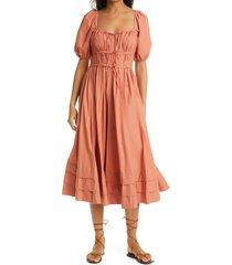 women's ulla johnson palma puff sleeve cotton a-line dress, size 6 - orange
