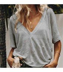 camiseta de manga corta con cuello en v sólida tops para mujer-gris