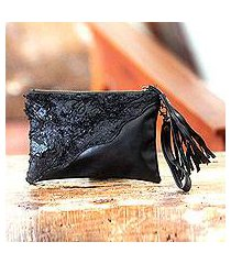 leather wristlet bag, 'midnight chic' (indonesia)