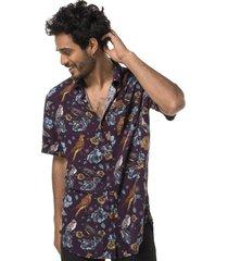camisa hombre aflora morado print haka honu