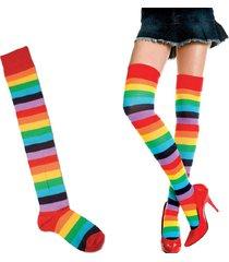 calze da donna in poliestere con maniche sopra al ginocchio colorful calze a strisce lunghe calze