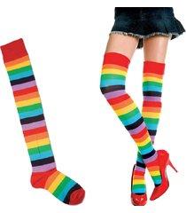 poliestere delle donne di modo sopra il calzino del ginocchio calzini calze lunghe stripey della coscia variopinta dell'arcobaleno