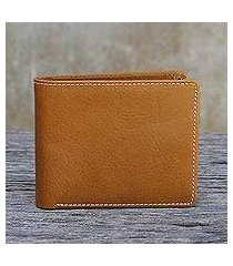 men's leather wallet, 'genuine in saddle brown' (thailand)