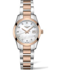 women's longines conquest classic diamond bracelet watch, 29mm