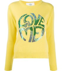 alberta ferretti long sleeve sequin-embellished logo pullover - yellow
