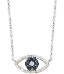 14k white gold sapphire & diamond cutout eye pendant necklace