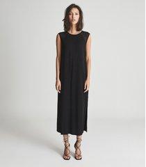 reiss erika - shift silhouette midi dress in black, womens, size 14