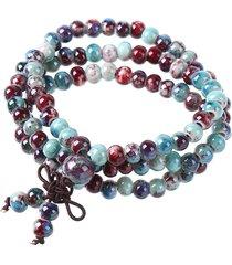 braccialetto di perline in ceramica intrecciata a mano a più strati per uomo donna