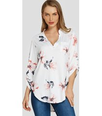 white random floral print v-neck adjustable length sleeves blouse