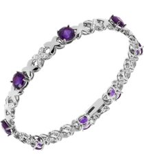 amethyst (5 1/5 ct. t.w.) and diamond accent bracelet in sterling silver