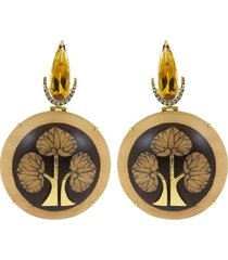 obi marquetry tree of life earrings