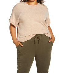 plus size women's treasure & bond short sleeve marled slub sweatshirt, size 2x - brown