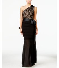 betsy & adam petite lace one-shoulder mermaid gown